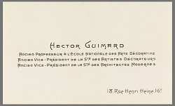 Business Card of Hector Guimard