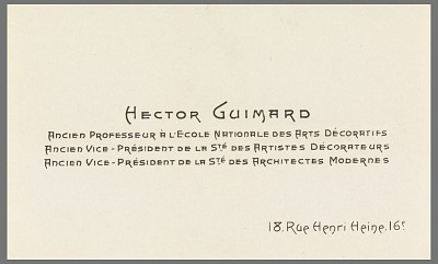 Business Card of Hector Guimard