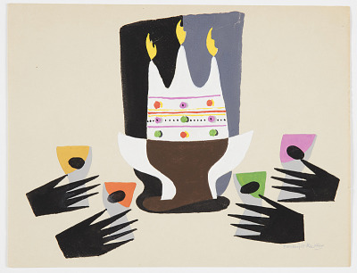 Design for an Abstract Composition with Crown and Hands