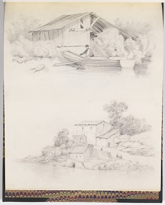 Sketches of a Shed and House on the Shore