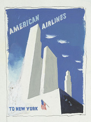 "Preparatory Drawing for ""American Airlines to New York"" Poster"