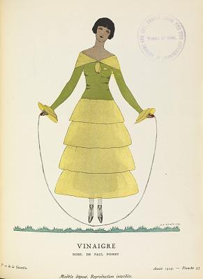 """Vinaigre, robe de Paul Poiret (""""Vinegar,"""" dress by Paul Poiret), Gazette du bon ton : arts, modes & frivolités (Gazette of fashion: arts, modes & frivolities) 6e année, No. 10, plate 53"""
