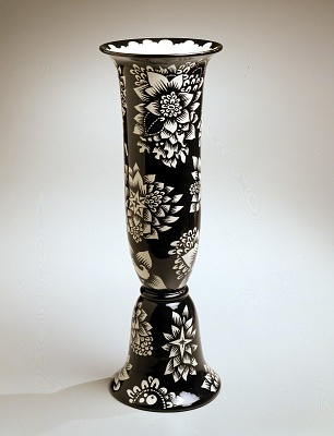 Bell-form Vase with Black and White Decoration