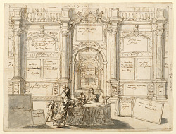 """Diagram of a painting by Gonzales Coques and others, """"Interior with Figures in a Picture Gallery,"""" 1672 (Mauritshuis)"""