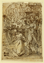 Sketchbook Page with Beheading of a Female Martyr