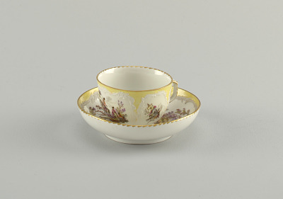 Cup and Saucer with Battle Scenes (