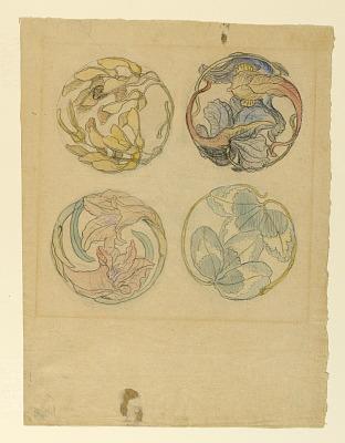 Flower Studies (Four Designs for Circular Ornaments)