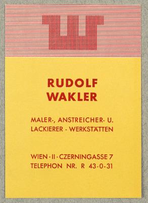 Rudolf Wakler, Maler, Anstreicher -und Lackierer