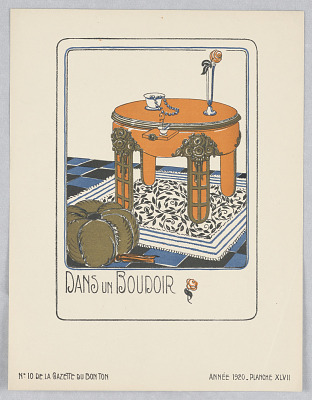 Plate 47, Dans un Boudoir (In a Boudoir), Gazette du Bon Ton (Journal of Good Taste), Vol. 2, No. 10