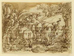 Recto: Elephants Hunted by Troglodytes [Cavemen]; Verso: inscription relating to Pliny the Elder's Natural History, Book 8, ch.8