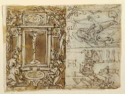 Sketchbook Page; Monument of Marcus Aurelius Antonius with Son; Study for an Engraving