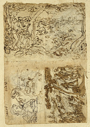 Recto, above: Crane hunt using cones; Below, left: Jacob, half figure; lion with a blindfold over his head; map of a fortifications; Below right: Fox Hunt. Verso, above left: Starling Hunt; below left: Lion hunt with torches and nets; right: half figures of St. Joseph, Abraham and Isaac, and an unknown figure; inscription.