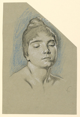 Portrait Sketch of a Young Woman with Closed Eyes
