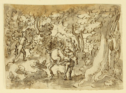 Sketchbook Page: Stag Hunt in Persia (recto); Stag Hunt by Luigi Alamanni (verso), designs for the Venationes series