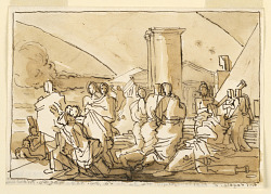 Sketch, Exterior Scene with Draped Figures and Classical Architecture