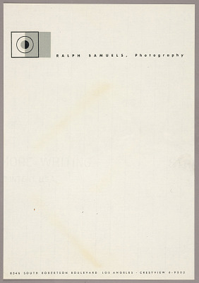 Letterhead for Ralph Samuels, Photography, Los Angeles