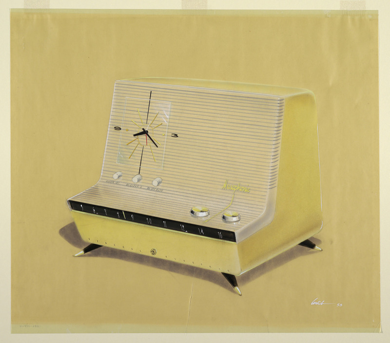 Image for Design for Musaphonic L-Shaped Clock Radio on Legs, in Yellow, General Electric
