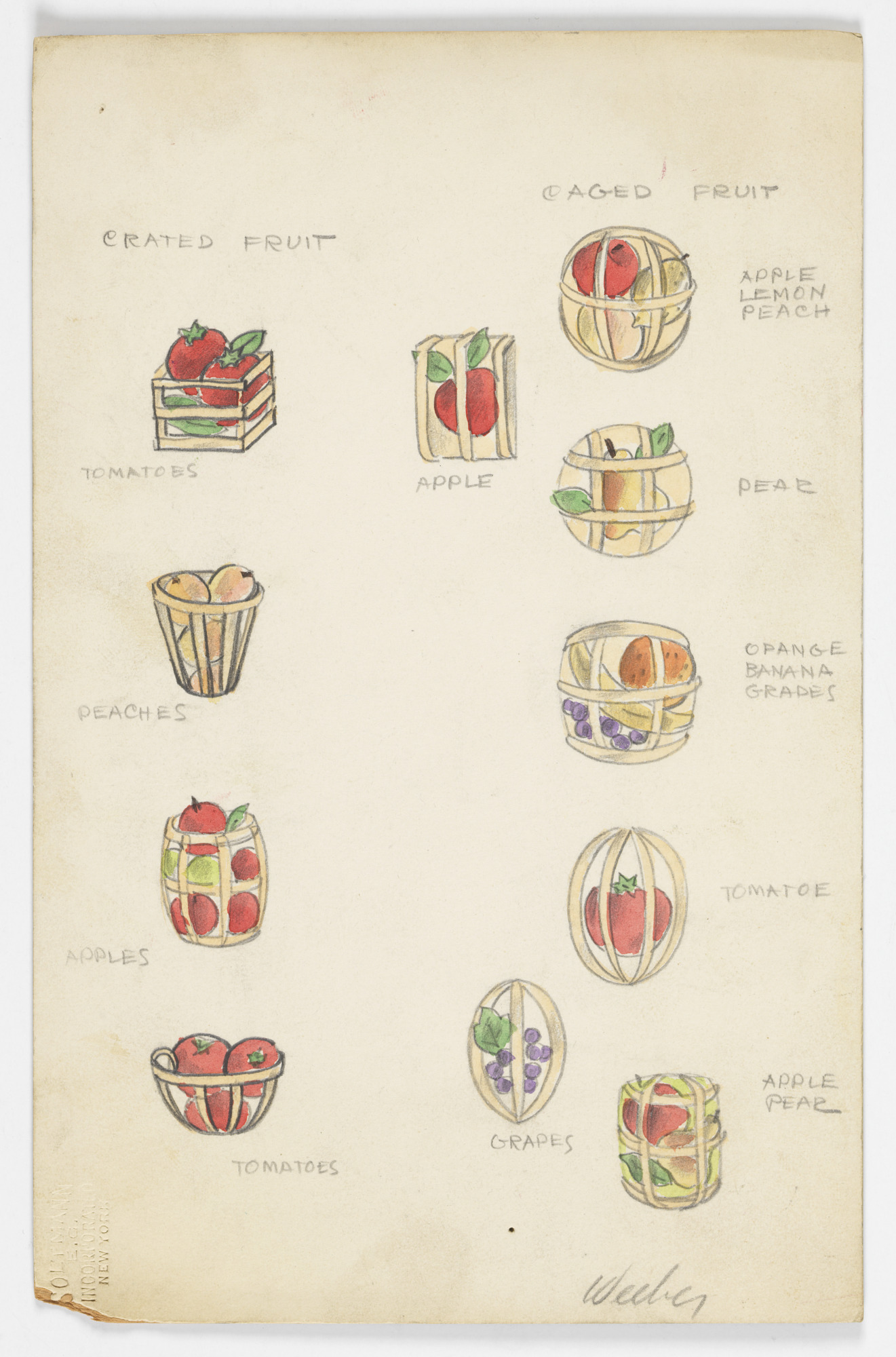 Button Design: Crated Fruits and Caged Fruits