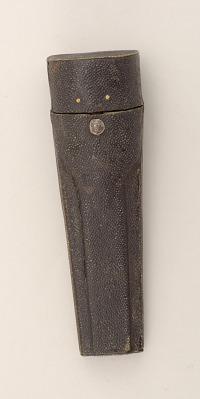 Agate-handled knife and fork, with sharkskin sheath