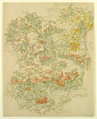 Textile Design: Anemones, Apple Blossoms, and Narcissi