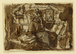 Page of a sketchbook; A monk in his study