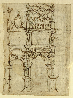 Recto: Triumphal Arch, possibly for the Entry of Ferdinand I de' Medici into Pisa in 1588; Verso: Judith with the Head of Holofernes, inscription relating to contract signed in December 1587 for the production of 26 illustrations for Dante's Inferno, commissioned by Luigi Alamanni