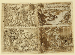 Recto, above left: Deer attacked by a Lynx; above right: Cloelia and her Companions escape Porsena's Camp; below right: Women Hunting; below left: Deer Hunt, with a Stag hiding its Scent. Verso: Two Busts of Women in Architectural Settings, preliminary designs for the Seven Virtues print series