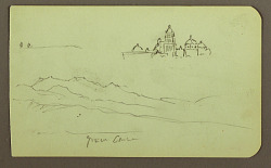 Mountains, Church; Verso: Figures, Church