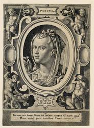 """Justice (Iustitia), plate 5 from the """"Virtutum theologicarum et cardinalium"""""""