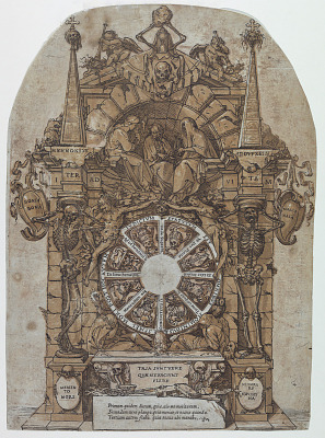 Triumph of Death with three fates in an architectural frame above a wheel of fortune flanked by skeletons; a skull and an hour glass at top and with wheel intended to spin at center