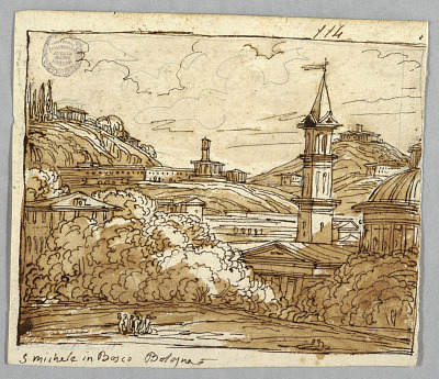 Sketchbook Page, Folio 57: Study after Michele in Bosco, Bologna; Verso, Architectural Details