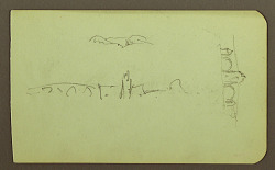 hills, church, bridge; Verso: figure, cross, church