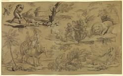 Cartoon for cotton printing: Les Fables de La Fontaine
