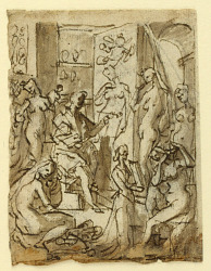 Recto: Zeuxis painting Helen; Verso: Studies of figures for an illustraiton of the eighth circle, tenth bolgia of Dante's Inferno (Falsifiers: Maestro Adamo, Sinon of Troy, Potiphar's Wife)