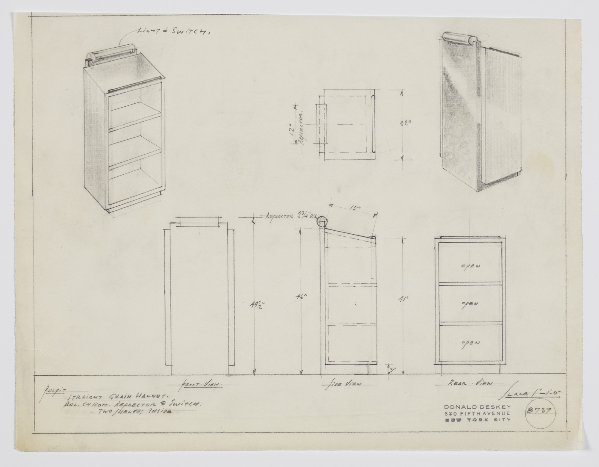 Design for Lectern with Open Shelves and Light