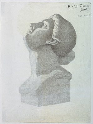Vertical rectangle. The head of a woman tilted upward and facing left. Signed in charcoal, upper right: