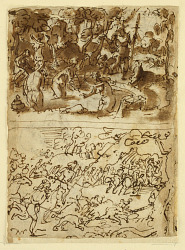 Recto, above: Diana and Actaeon; Recto, below: Boar hunt; Verso, above: studies of two male heads; Verso, below: Meeting of Anna and Joachim at the Golden Gate, The circumcision of the Christ-child