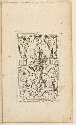 """Grotesque with Deities. Plate 04 """"Juno,"""" 2nd state"""