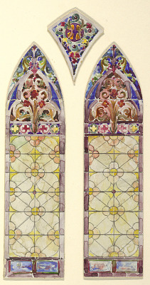 Stained glass window: left pane of a three part design