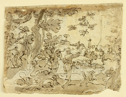 Recto: Bird Hunt with Falcons; Verso: Lunette decorated with animals, capricorn, and foliage
