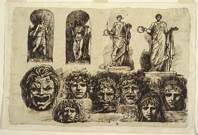 Studies for Four Statues and Seven Masks