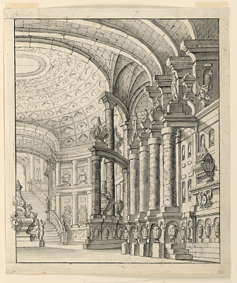 Stage Design: Hall with Coffered Ceiling and Urns