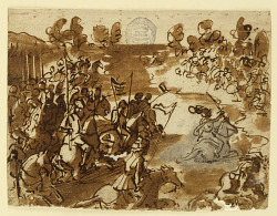 """Recto: Giovanni de 'Medici (""""dalle Bande Nere"""") leads his troops across the river Adda, driving back the Spanish forces, 1521; Verso: inscriptions"""