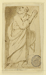 Page of a drawing book; Elderly man in classical attire