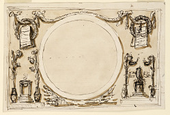 Design for Overmirror Decoration, Blank Roundel with Grotesques, for the Noble Cabinet of the Palazzo Altieri