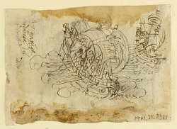 "Recto: A horseman killing a stag, preliminary design for The Deer Hunt of Emperor Frederick Barbarosa and Ubaldo Ubaldini; Verso: Two galleys at sea, design for ""Orbis Longitudines"" (Discovery of the Establishment of the Longitudes), pl. 16 from the Nova Reperta series"