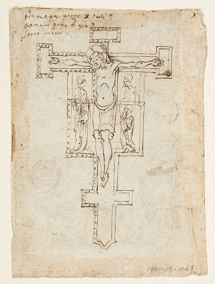 Recto: Medieval Crucifix; Verso: Baptism of Christ from the Life of St. John the Baptist (left); Assumption of the Virgin (right)