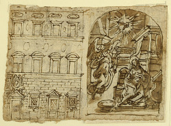 Page of a sketchbook; Elevation of Palace, Annunciation, Last Supper