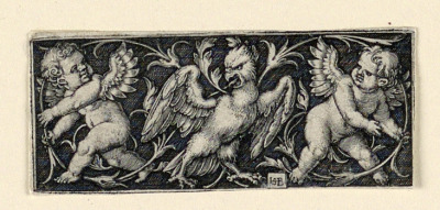 Frieze with two putti fleeing from an eagle