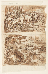 Four Preliminary Designs for the Venetiones Series: Recto, above: Fishing for Tuna; Recto, below: Hunting crocodile with a Pig as Bait; Verso, above: Indians catching fish with the help of pelicans; Verso, below: Boar hunt with Shotguns;